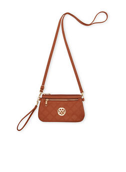 Embossed Faux Leather Wristlet with Medallian Accent - 1124060141159