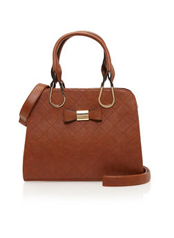 Quilted Faux Leather Satchel with Bow Accent - 1124060142018