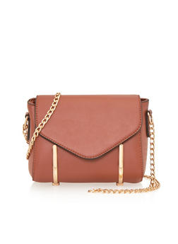 Crossbody Bag with Chainlink Strap and Metal Trim - 1124060142058
