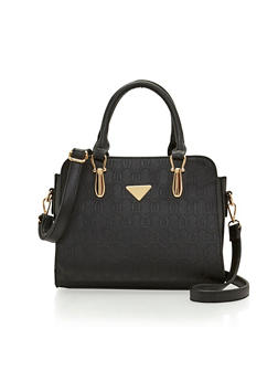 Embossed Faux Leather Convertible Handbag - 1124060142059