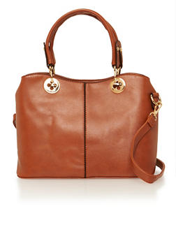 Faux Leather Convertible Satchel with Goldtone Hardware - 1124060142061