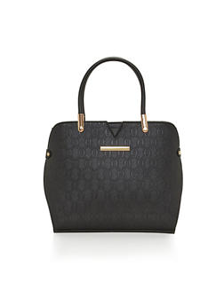 Embossed Faux Leather Handbag - 1124060142062