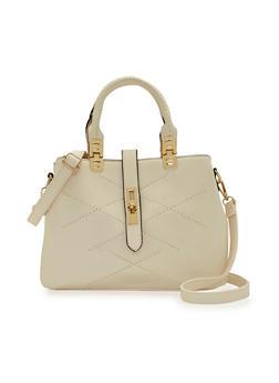 Satchel Handbag with Front Stitching Details - 1124060142066