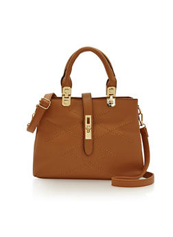 Satchel Handbag with Front Stitching Details - 1124060142066