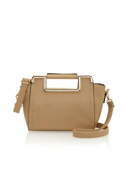 Metal Trim Cutout Handle Faux Leather Handbag - 1124060142067