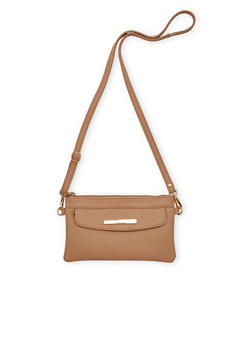 Mini Faux Leather Crossbody Bag with Flap Front Pocket - 1124060142069