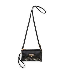 Convertible Crossbody Bag with Padlock Charm - 1124060142114
