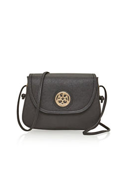 Faux Leather Crossbody Bag with Medallion Accented Button Closure - 1124060142128