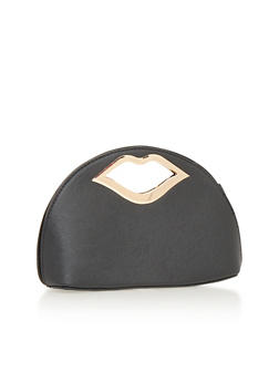 Faux Leather Clutch with Lips Handle - 1124060142133