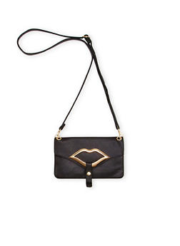 Crossbody Bag with Lips Accent - 1124060142141