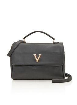 Satchel Bag with Metal V - 1124060142189