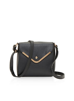 Crossbody Flap Satchel Bag in Leather - 1124060142196