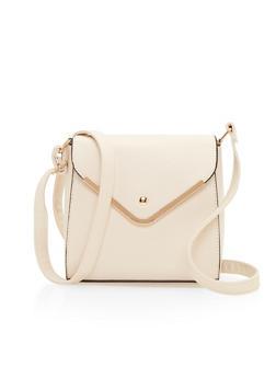 Crossbody Flap Satchel Bag in Leather - 1124060142196