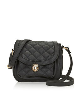 Crossbody Quilted Saddle Handbag - 1124060143019