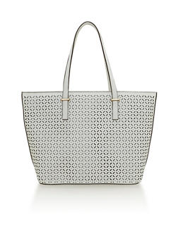 Laser Cut Faux Leather Shopper Bag - 1124060143020