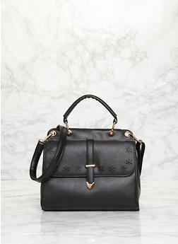 Laser Cut Faux Leather Satchel Bag with Detachable Crossbody Strap - BLACK - 1124060145020
