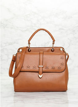 Laser Cut Faux Leather Satchel Bag with Detachable Crossbody Strap - CAMEL - 1124060145020