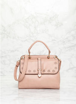 Laser Cut Faux Leather Satchel Bag with Detachable Crossbody Strap - 1124060145020