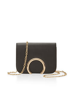 Faux Leather Crossbody Bag with Metal Accent - 1124060145025