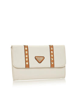 Studded Faux Leather Foldover Clutch - 1124060145028