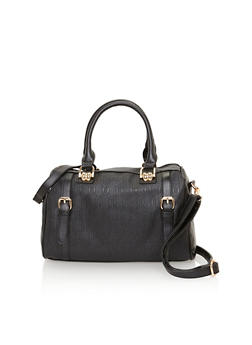 Embossed Faux Leather Satchel with Detachable Shoulder Strap - 1124060145032