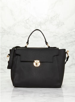 Large Faux Leather Satchel Bag with Push Lock Closure - BLACK - 1124060145038
