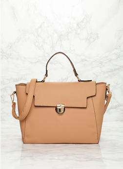 Large Faux Leather Satchel Bag with Push Lock Closure - TAN - 1124060145038