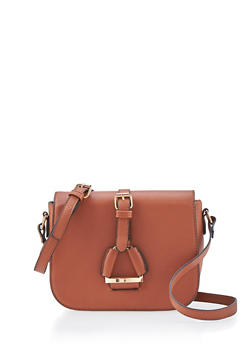 Flap Over Crossbody Bag with Latch Buckle Accent - 1124060145039