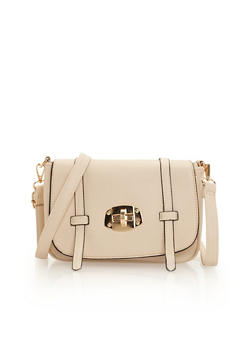 Latched Faux Leather Crossbody Bag - 1124060147000