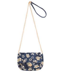 Glitter Floral Faux Pearl Studded Denim Crossbody Bag - 1124061590776