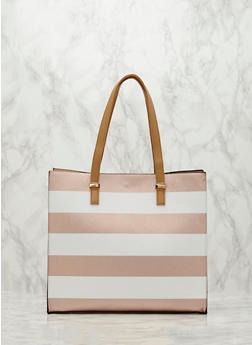 Striped Faux Leather Tote Bag - 1124061594620