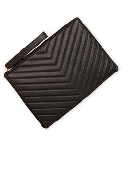 Large Quilted Faux Leather Wristlet - 1124061594820