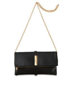 Foldover Crossbody Bag with Twist Lock - 1124061594900