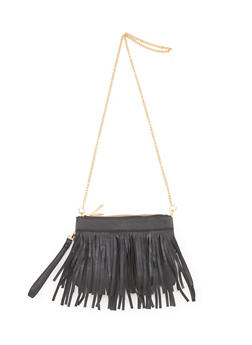 Faux Leather Double Zip Fringed Crossbody Bag - 1124061595290