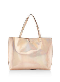Faux Leather Tote with Button Snap Closure - 1124061595370