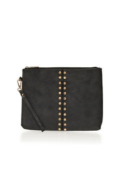 Large Studded Clutch with Wrist Strap - 1124061595420