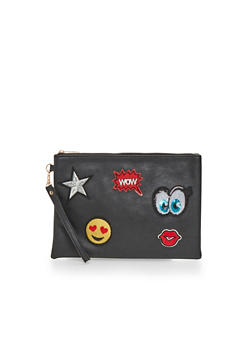 Faux Leather Clutch with Patches and Wrist Strap - 1124061595430