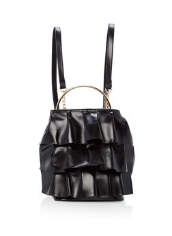 Ruffled Faux Leather Backpack with Metallic Handle - 1124061595460