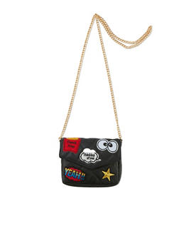 Quilted Chain Strap Bag with Assorted Patches - 1124061595800