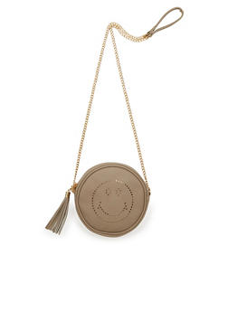 Canteen Laser Cut Smiley Face Crossbody Bag - 1124061595875