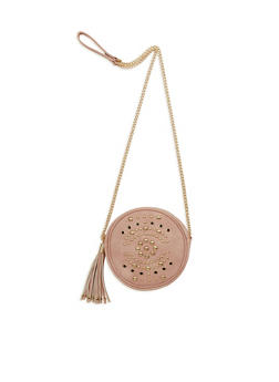Canteen Faux Leather Crossbody Bag with Studded Exterior - 1124061595940