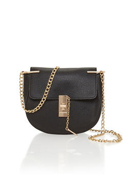 Pebbeled Faux Leather Saddle Bag with Chain Crossbody Strap - 1124061595950
