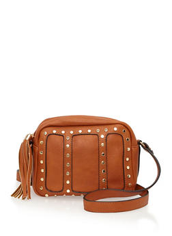 Studded Faux Leather Crossbody Bag - 1124061595960