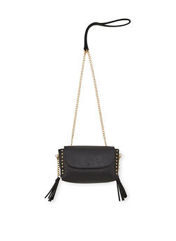 Mini Faux Leather Crossbody Bag with Studded Trim - 1124061595970