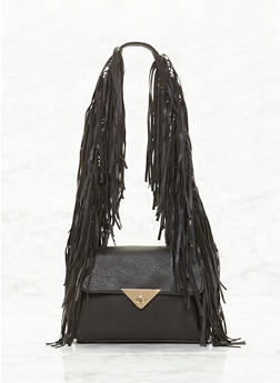 Faux Leather Purse with Fringe Strap - 1124061595980