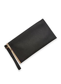 Faux Leather Metallic Side Bar Wristlet - 1124061596045