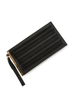 Faux Leather Lasercut Clutch with Wrist Strap - BLACK - 1124061596046