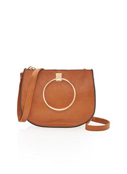 Faux Leather Double Ring Handle Crossbody Bag - 1124061596100