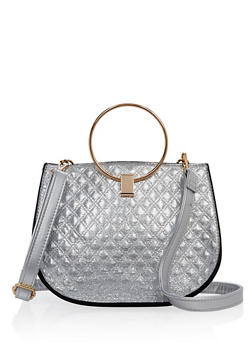 Quilted Faux Leather O Ring Handle Satchel - 1124061596106