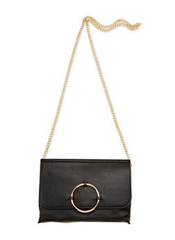 Faux Leather Crossbody Bag with Ring Accent - 1124061596170